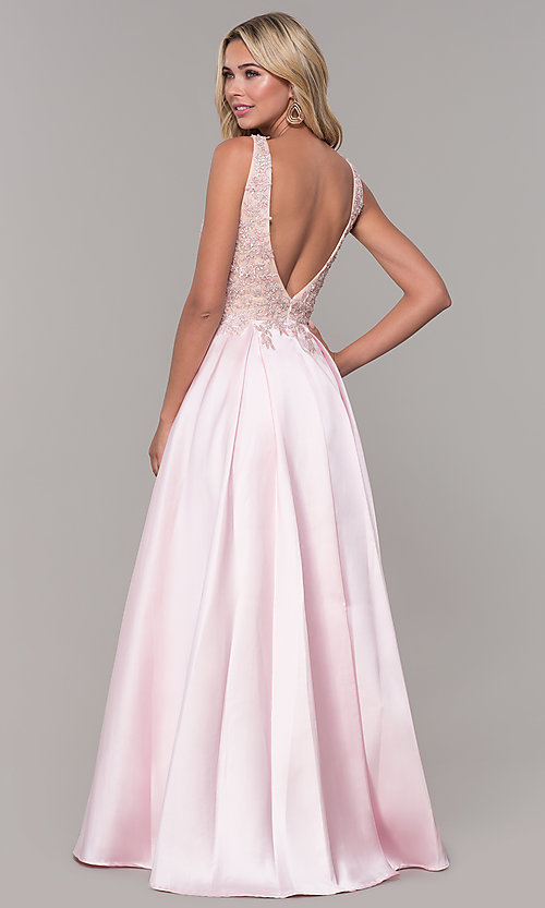 Image of long pink prom dress with embroidered bodice. Style: DJ-A6885 Back Image
