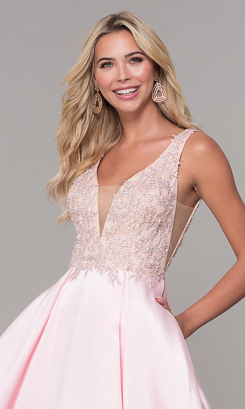 Image of long pink prom dress with embroidered bodice. Style: DJ-A6885 Detail Image 1