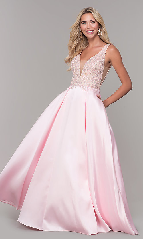 Image of long pink prom dress with embroidered bodice. Style: DJ-A6885 Detail Image 3