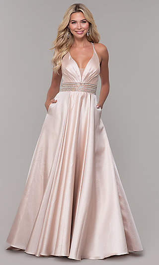 Long Blush Pink Prom Dress by Dave and Johnny