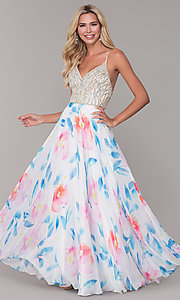 Image of rhinestone-accented long floral-print prom dress. Style: DJ-A7932 Front Image