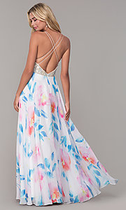 Image of rhinestone-accented long floral-print prom dress. Style: DJ-A7932 Back Image