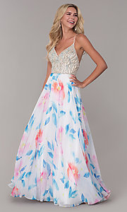 Image of rhinestone-accented long floral-print prom dress. Style: DJ-A7932 Detail Image 3