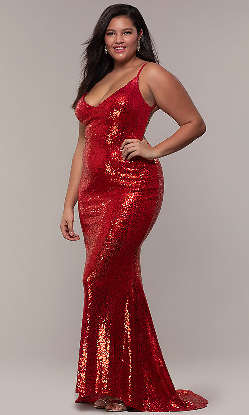 6858c26f468 Long Sequin V-Neck Plus-Size Open Back Prom Dress