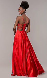 Image of strappy-caged-back long v-neck satin prom dress. Style: NA-A180 Detail Image 4