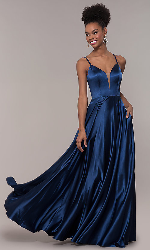 Image of strappy-caged-back long v-neck satin prom dress. Style: NA-A180 Detail Image 6