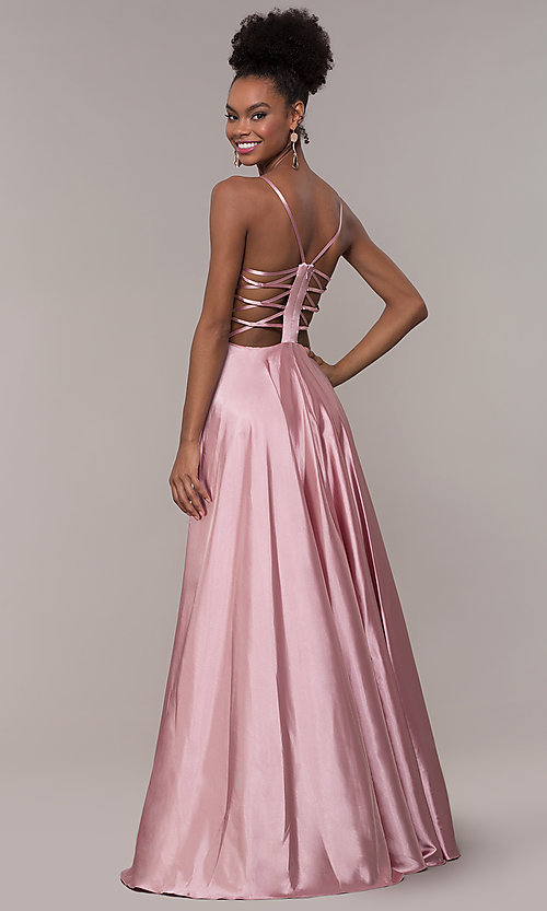 Image of strappy-caged-back long v-neck satin prom dress. Style: NA-A180 Back Image