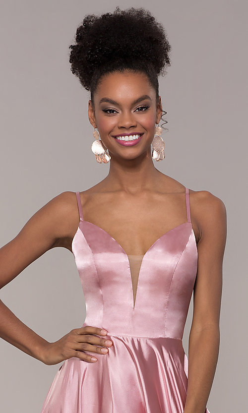 Image of strappy-caged-back long v-neck satin prom dress. Style: NA-A180 Detail Image 1