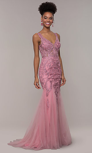 Long Embroidered Mesh Mermaid Prom Dress