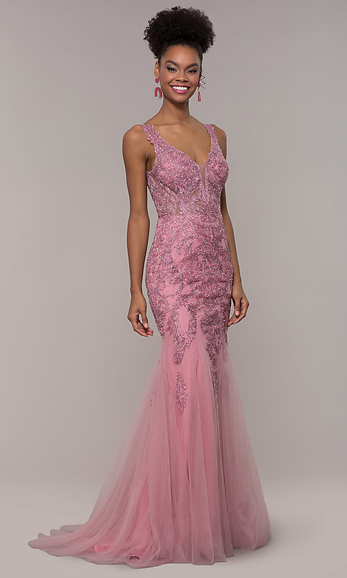 8437e84d44261 Long Embroidered Mesh Mermaid Prom Dress