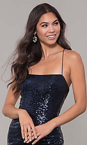 Image of long square-neck sequin prom dress with corset back. Style: NA-B207 Detail Image 1