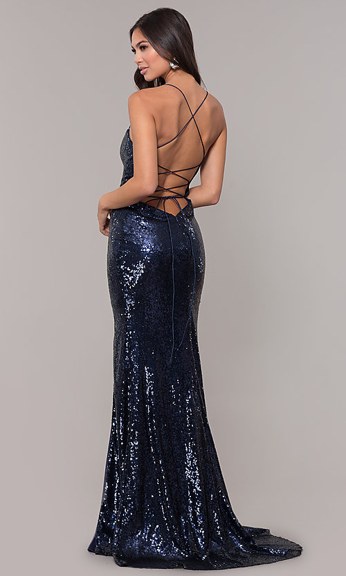 Image of long square-neck sequin prom dress with corset back. Style: NA-B207 Back Image