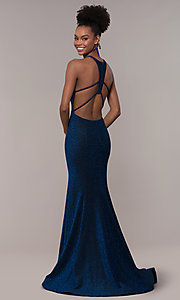 Image of strappy-back mermaid long sparkly prom dress. Style: NA-C208 Back Image