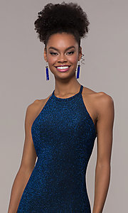 Image of strappy-back mermaid long sparkly prom dress. Style: NA-C208 Detail Image 1