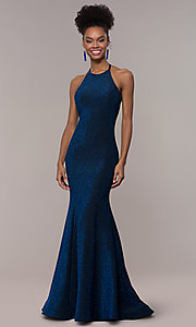 Image of strappy-back mermaid long sparkly prom dress. Style: NA-C208 Detail Image 3