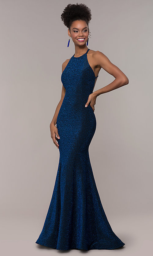 Image of strappy-back mermaid long sparkly prom dress. Style: NA-C208 Front Image