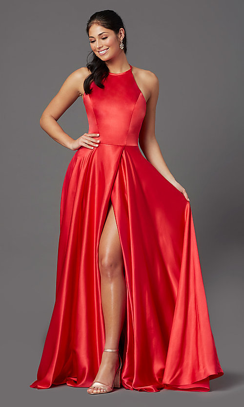 Image of high-neck long red prom dress with corset back. Style: NA-C209 Front Image