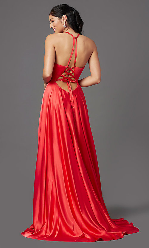 Image of high-neck long red prom dress with corset back. Style: NA-C209 Back Image