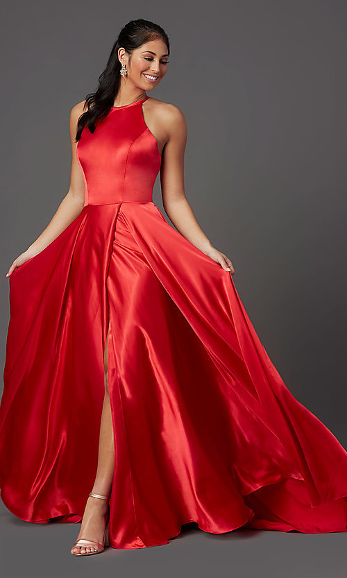 Image of high-neck long red prom dress with corset back. Style: NA-C209 Detail Image 2