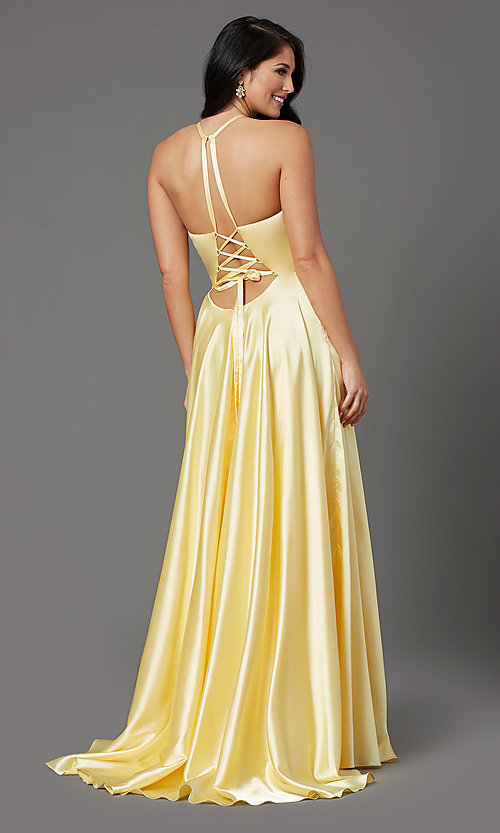 Image of high-neck long red prom dress with corset back. Style: NA-C209 Detail Image 5