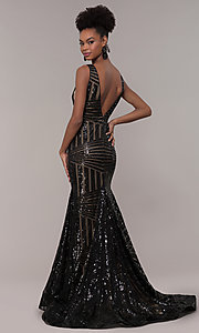 Image of sequin-mesh Art-Deco-inspired long prom dress. Style: NA-C214 Back Image