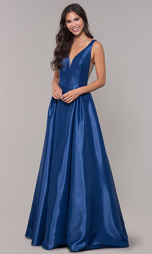 Image of taffeta long v-neck ball-gown-style prom dress. Style: NA-E156 Front Image