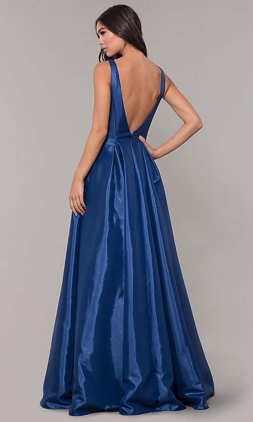 Image of taffeta long v-neck ball-gown-style prom dress. Style: NA-E156 Back Image