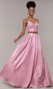 Image of long two-piece satin prom dress with ruching. Style: NA-E161 Front Image