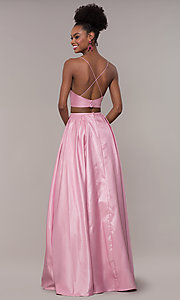 Image of long two-piece satin prom dress with ruching. Style: NA-E161 Back Image