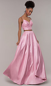 Image of long two-piece satin prom dress with ruching. Style: NA-E161 Detail Image 3