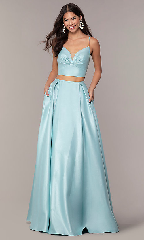 Image of long two-piece satin prom dress with ruching. Style: NA-E161 Detail Image 4