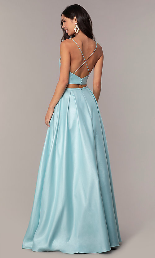 Image of long two-piece satin prom dress with ruching. Style: NA-E161 Detail Image 5