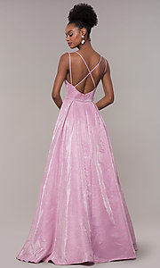 Image of long v-neck iridescent-glitter ball gown for prom. Style: NA-E228 Back Image