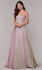 Image of long v-neck iridescent-glitter ball gown for prom. Style: NA-E228 Front Image