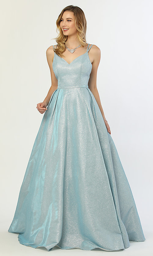 Image of long v-neck iridescent-glitter ball gown for prom. Style: NA-E228 Detail Image 7