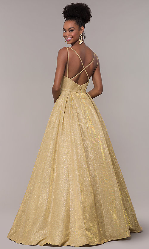 Image of long v-neck iridescent-glitter ball gown for prom. Style: NA-E228 Detail Image 3