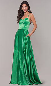 Image of long sweetheart corset-back satin prom dress. Style: NA-M140 Detail Image 1
