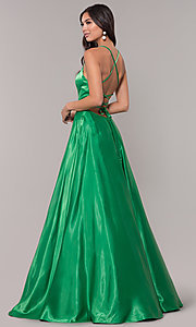 Image of long sweetheart corset-back satin prom dress. Style: NA-M140 Detail Image 2