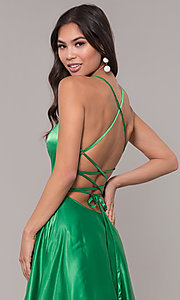 Image of long sweetheart corset-back satin prom dress. Style: NA-M140 Detail Image 4
