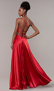 Image of long sweetheart corset-back satin prom dress. Style: NA-M140 Front Image
