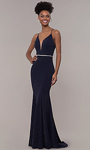 Image of long glitter-knit v-neck open-back prom dress. Style: NA-N160 Front Image