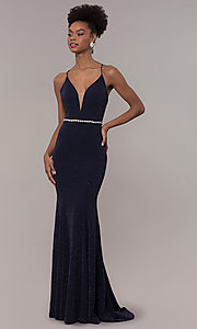 Image of long glitter-knit v-neck open-back prom dress. Style: NA-N160 Detail Image 3