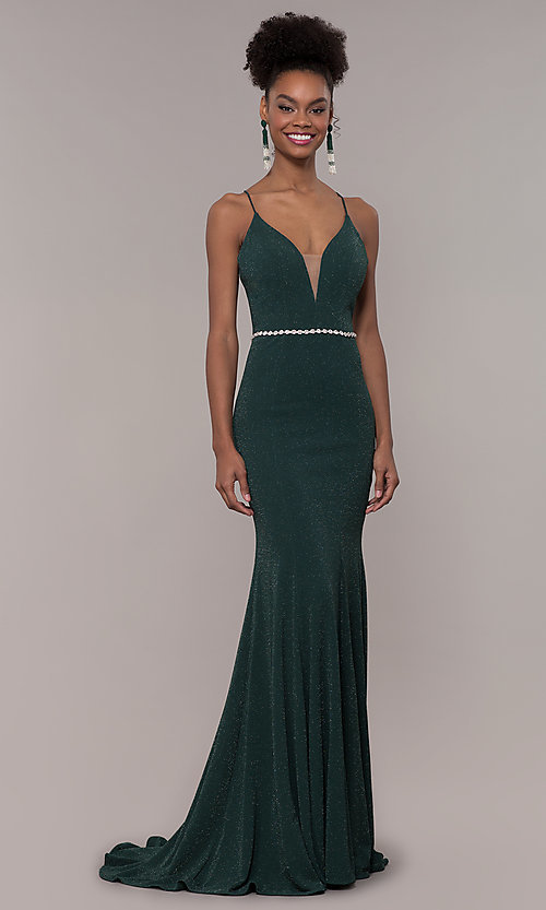 Image of long glitter-knit v-neck open-back prom dress. Style: NA-N160 Detail Image 4