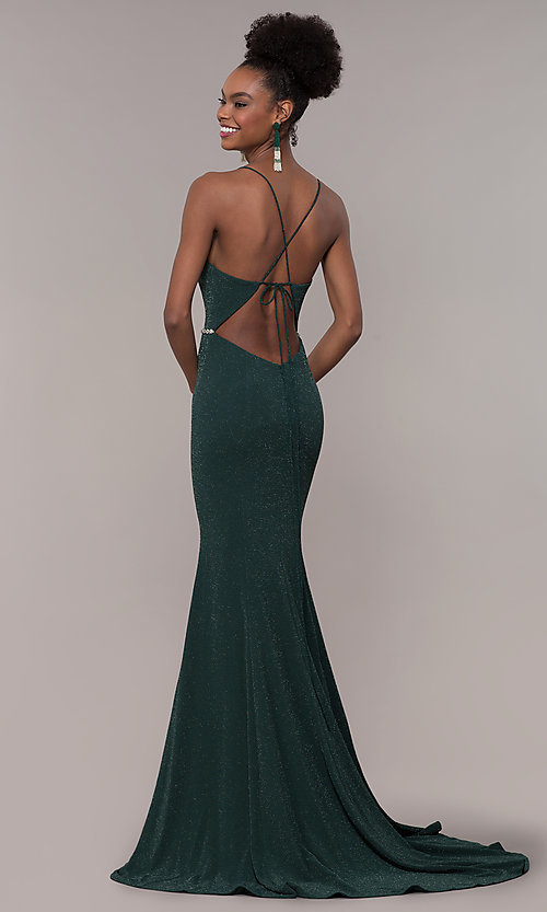 Image of long glitter-knit v-neck open-back prom dress. Style: NA-N160 Detail Image 5