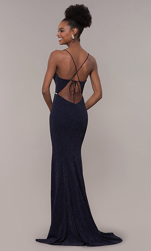 Image of long glitter-knit v-neck open-back prom dress. Style: NA-N160 Back Image