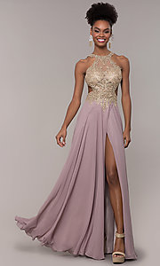 Image of long open-back embroidered-bodice chiffon prom dress. Style: NA-S202 Detail Image 4