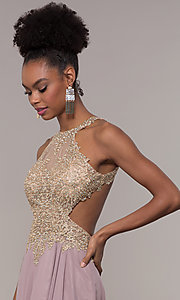 Image of long open-back embroidered-bodice chiffon prom dress. Style: NA-S202 Detail Image 6