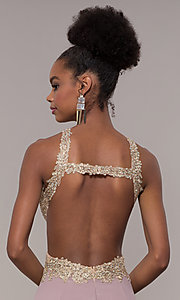 Image of long open-back embroidered-bodice chiffon prom dress. Style: NA-S202 Detail Image 7