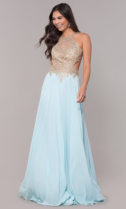 Image of long open-back embroidered-bodice chiffon prom dress. Style: NA-S202 Front Image