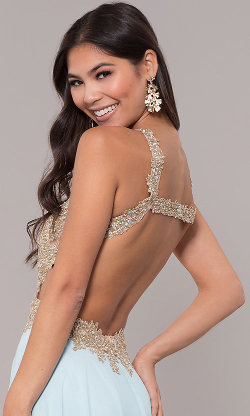 Image of long open-back embroidered-bodice chiffon prom dress. Style: NA-S202 Detail Image 2